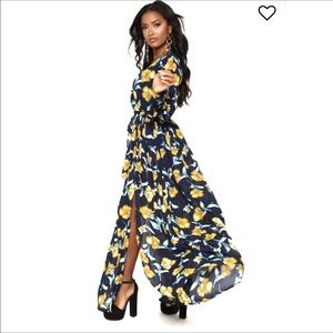 Dresses & Skirts - Long Sleeves Floral Lined Dress Surplice Maxi Gown